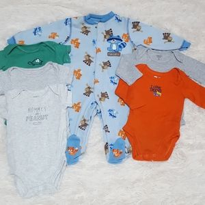 Infant Bundle of Onesies and Footed Pajama 3/6M